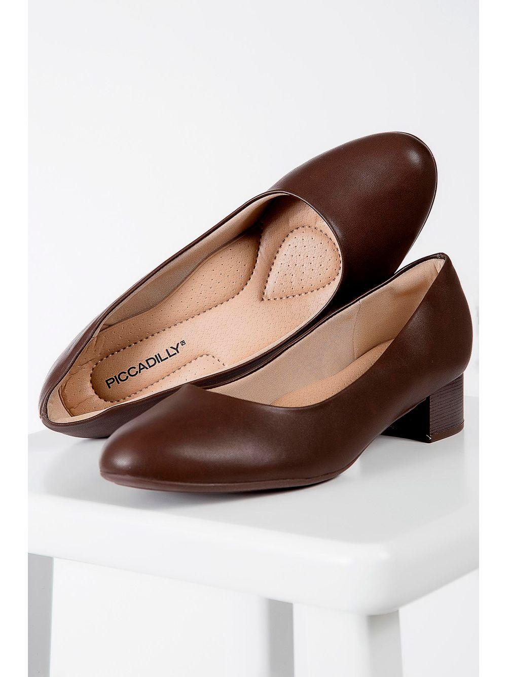 ea15fc9d22 Sapato Piccadilly Salto Baixo Marrom - pittol