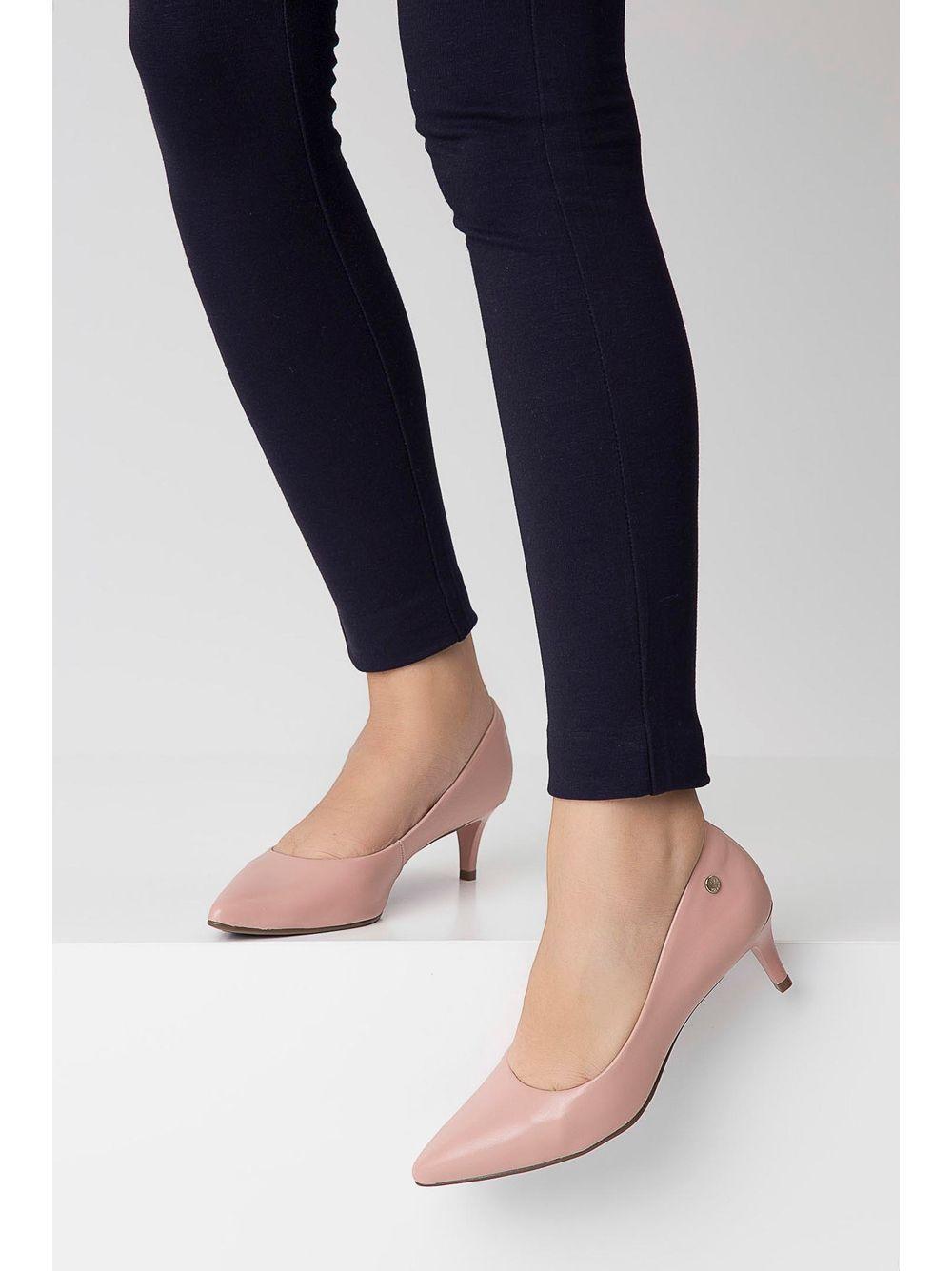 355e87533 Sapato Via Uno Scarpin Salto Baixo Rosa Claro - pittol