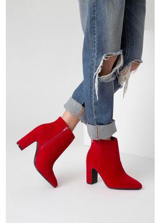 Bota-Ankle-Boot-Vizzano-Nobuck-Bico-Fino-Vermelho