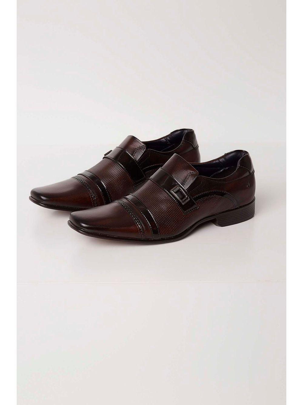 b387a1c95 Sapato Social Rafarillo Couro Aplique Metalizado Marrom - pittol