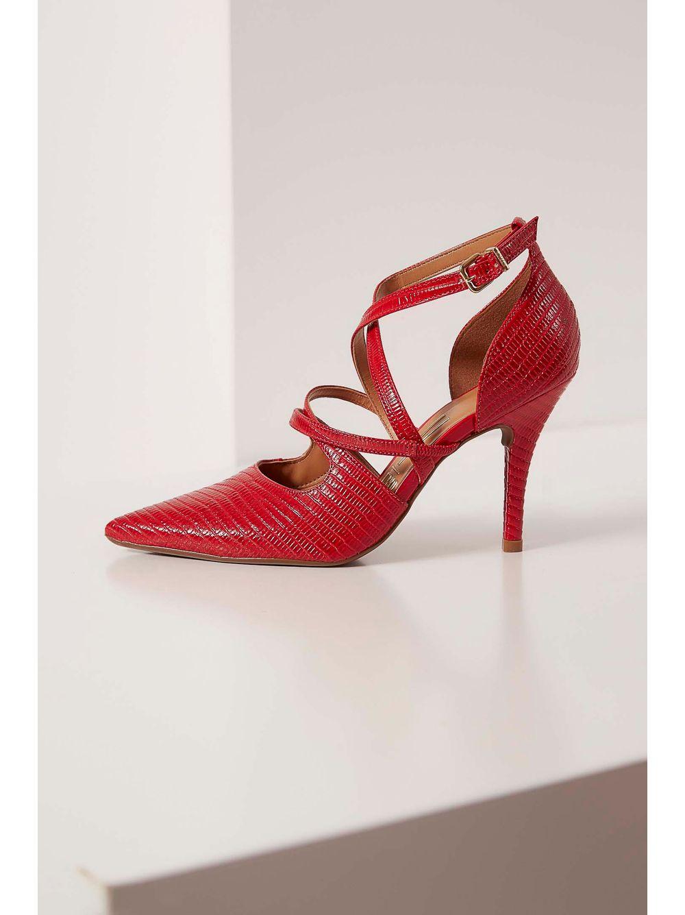 c1bf872e23 Sapato Scarpin Vizzano Verniz Fivela Vermelho - pittol