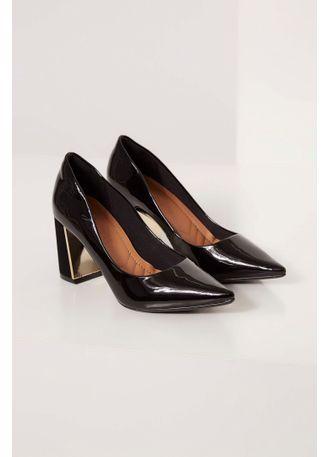 3671e46095 Sapato Bebecê Verniz Salto Grosso Metalizado Preto - pittol