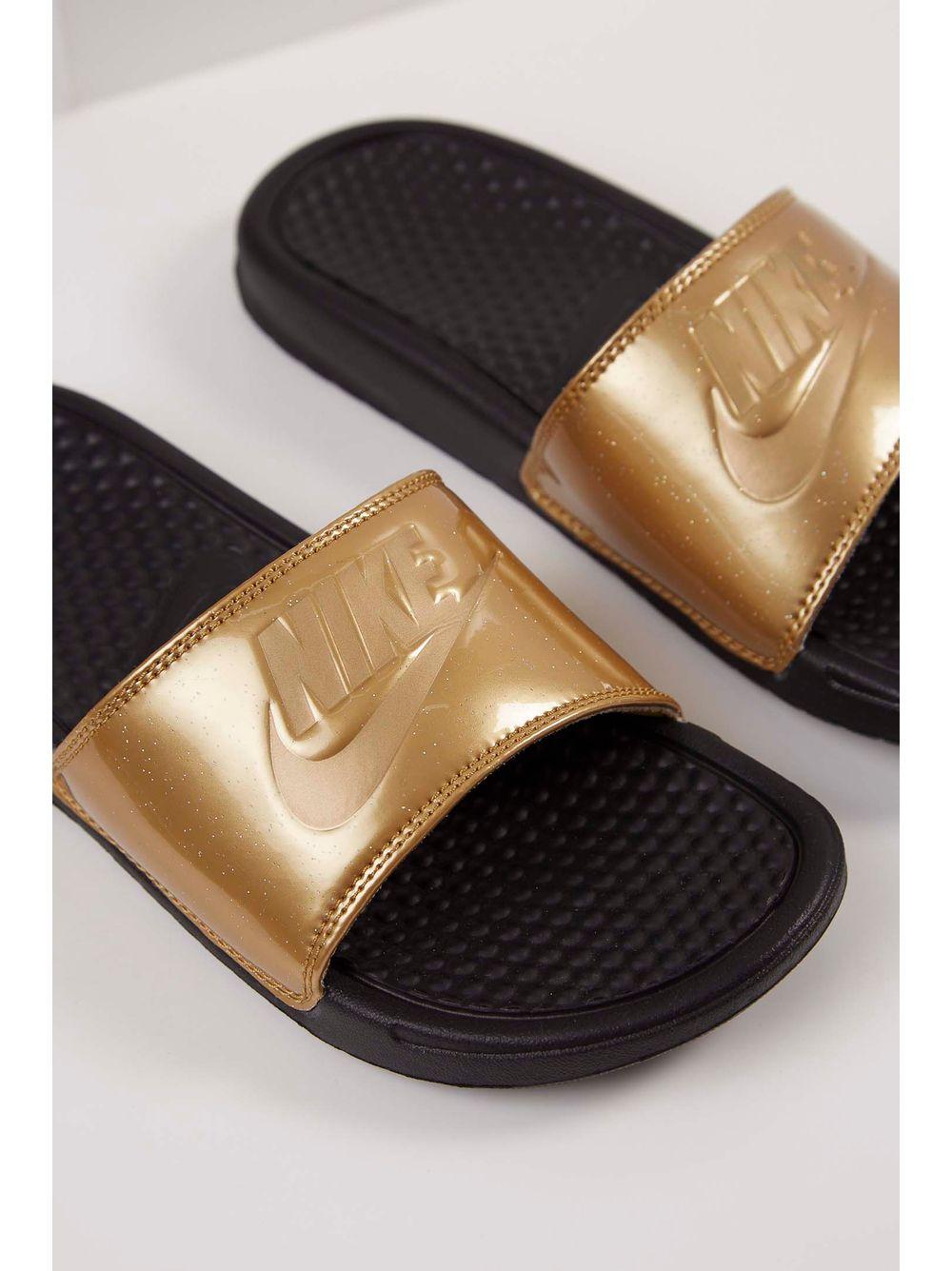 Chinelo Nike Benassi Jdi Print Ouro - pittol d29eafd50da96