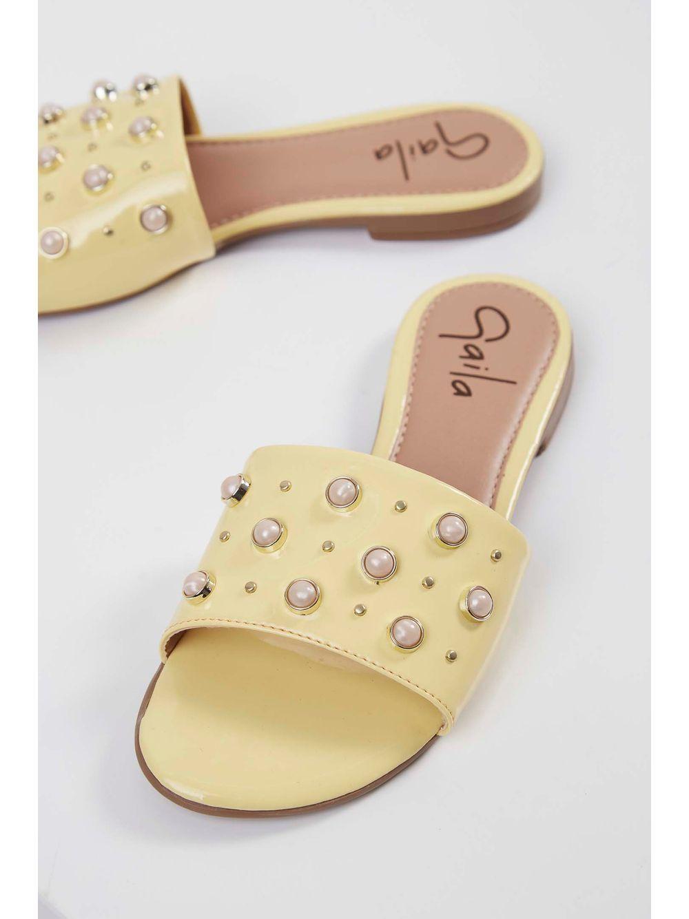 cae18aad0f Chinelo Rasteira Feminino Naty Shoes Pérolas Amarelo - pittol