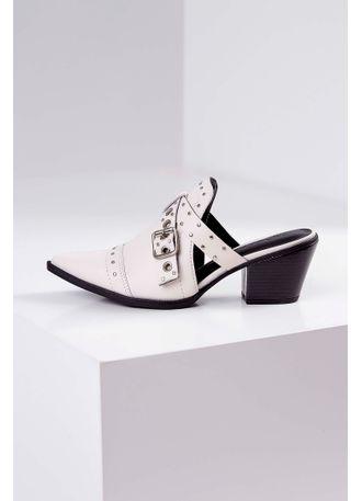 0fbb20e49 Mule Chanel Tanara Salto Médio Fivela Off-White - pittol