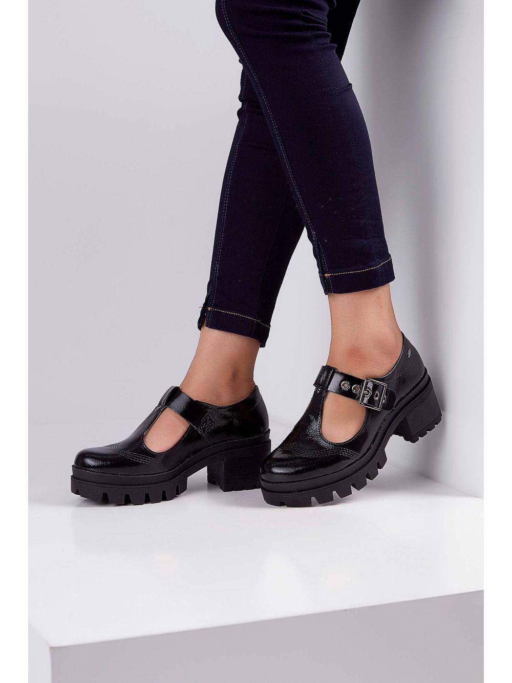 a0fb2a44a Sapato Boneca Tratorado Dakota Verniz Fivela Preto - pittol