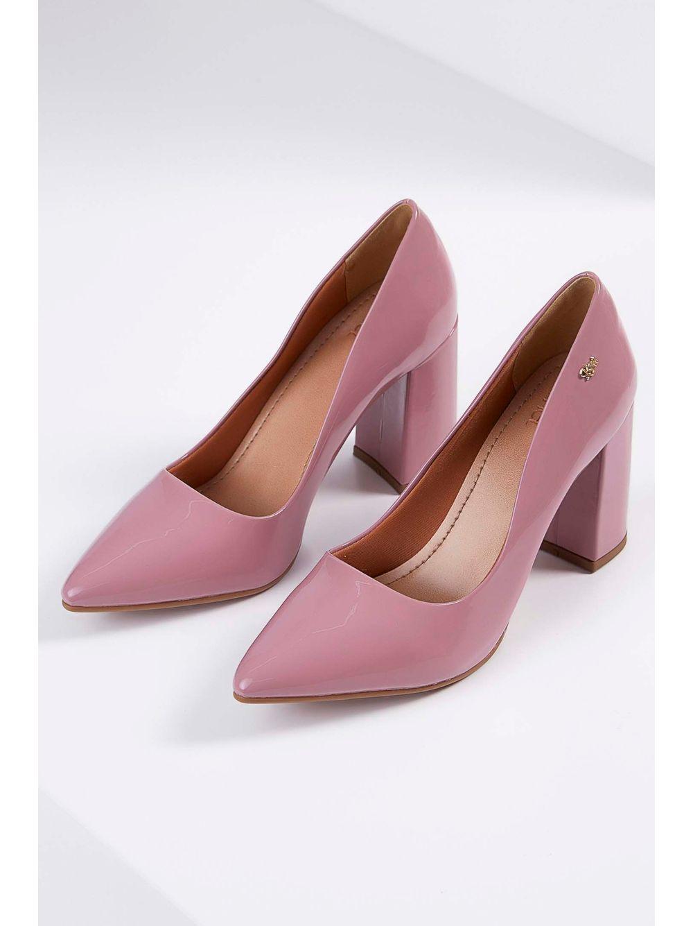 a90ee6b6b Sapato Scarpin Chá De Mel Verniz Bico Fino Rosa Escuro - pittol