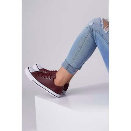 Tenis-Casual-All-Star-Ct04480004-Converse-Couro-Sintetico-Bordo-