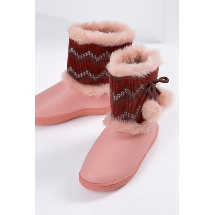 Bota-Pantufa-Infantil-Kature-Plush-Animal-Print-Rosa-