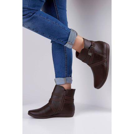 Bota-Ankle-Boot-Comfortflex-Fivela-Marrom-