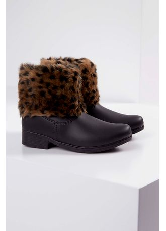 Bota-Ankle-Boots-Infantil-Meli-Animal-Print-Preto-