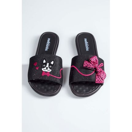 Chinelo-Slide-Infantil-Molekinha-Laco-Preto-