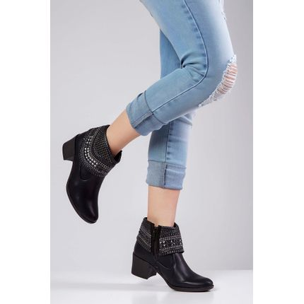 Bota-Ankle-Boot-Dakota-Cano-Curto-Spikes-Preto-