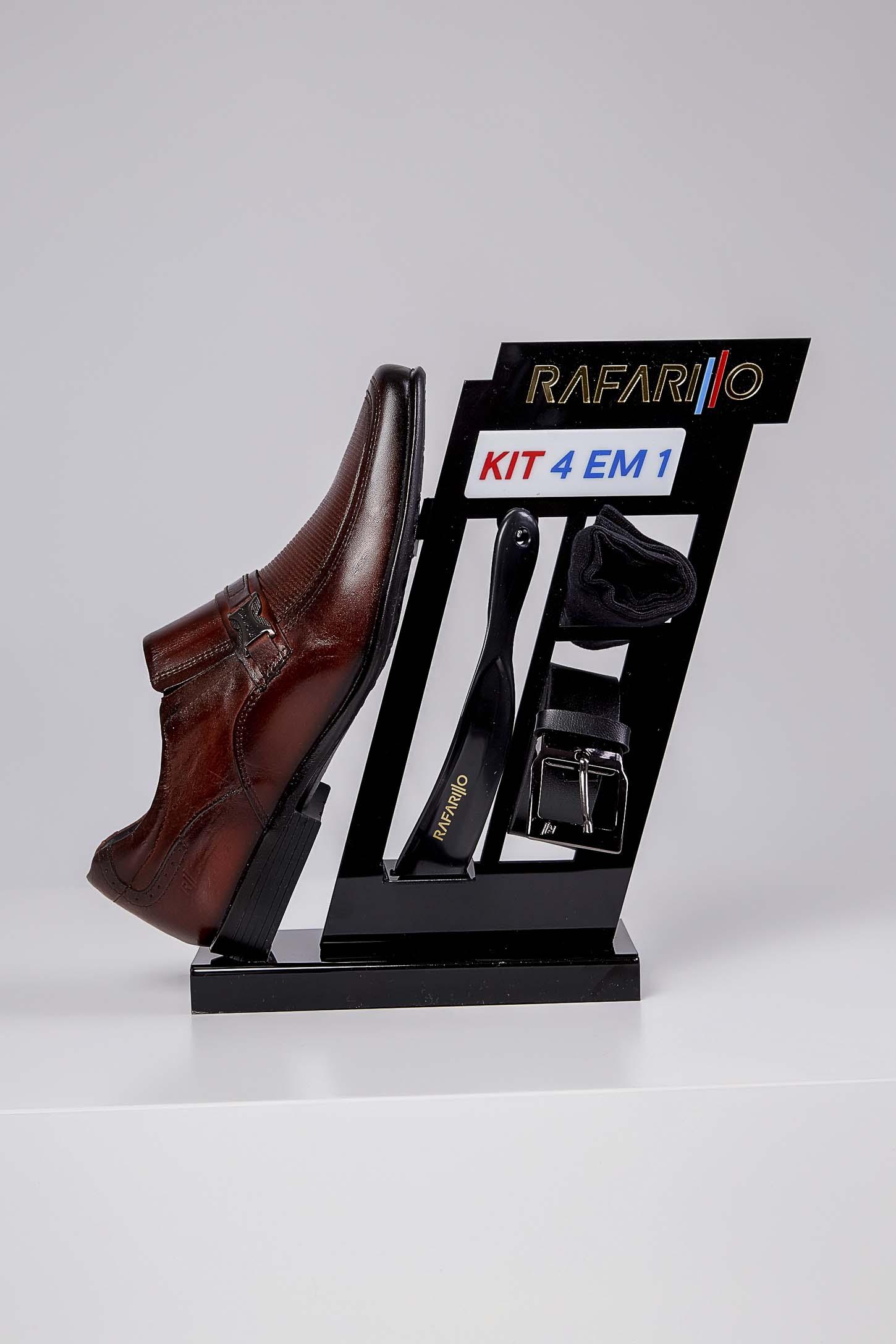 Kit 4 Em 1 Sapato Social Rafarillo Fivela Texturizado Marrom