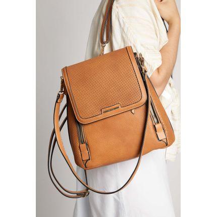Mochila-Casual-Wj-Handbags-Corte-A-Laser-Caramelo