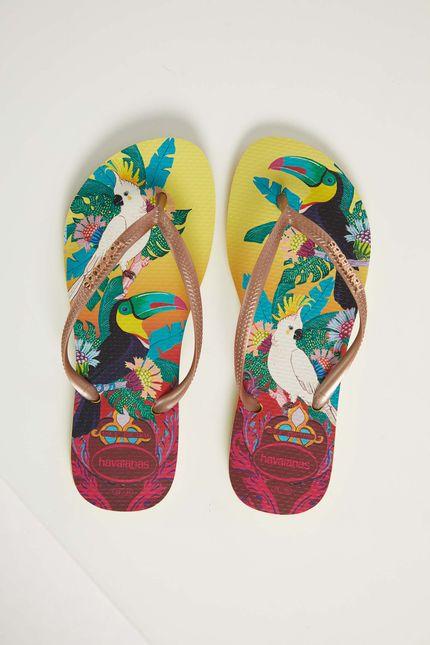 Chinelo-De-Dedo-Casual-Feminino-Havaianas-Slim-Tropical-Amarelo