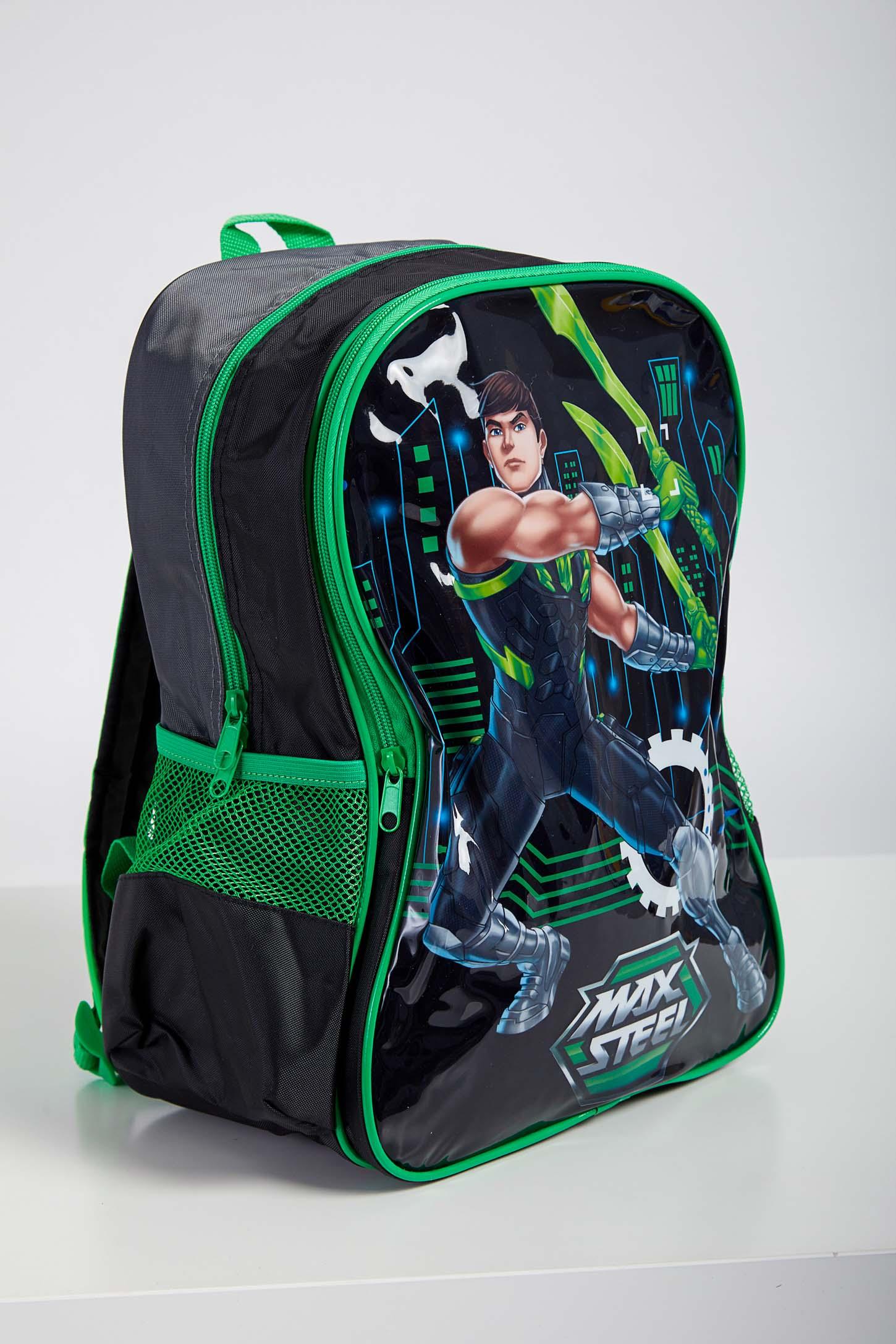 Mochila-Escolar-Infantil-Menino-Max-Steel-Luxcel-Verde