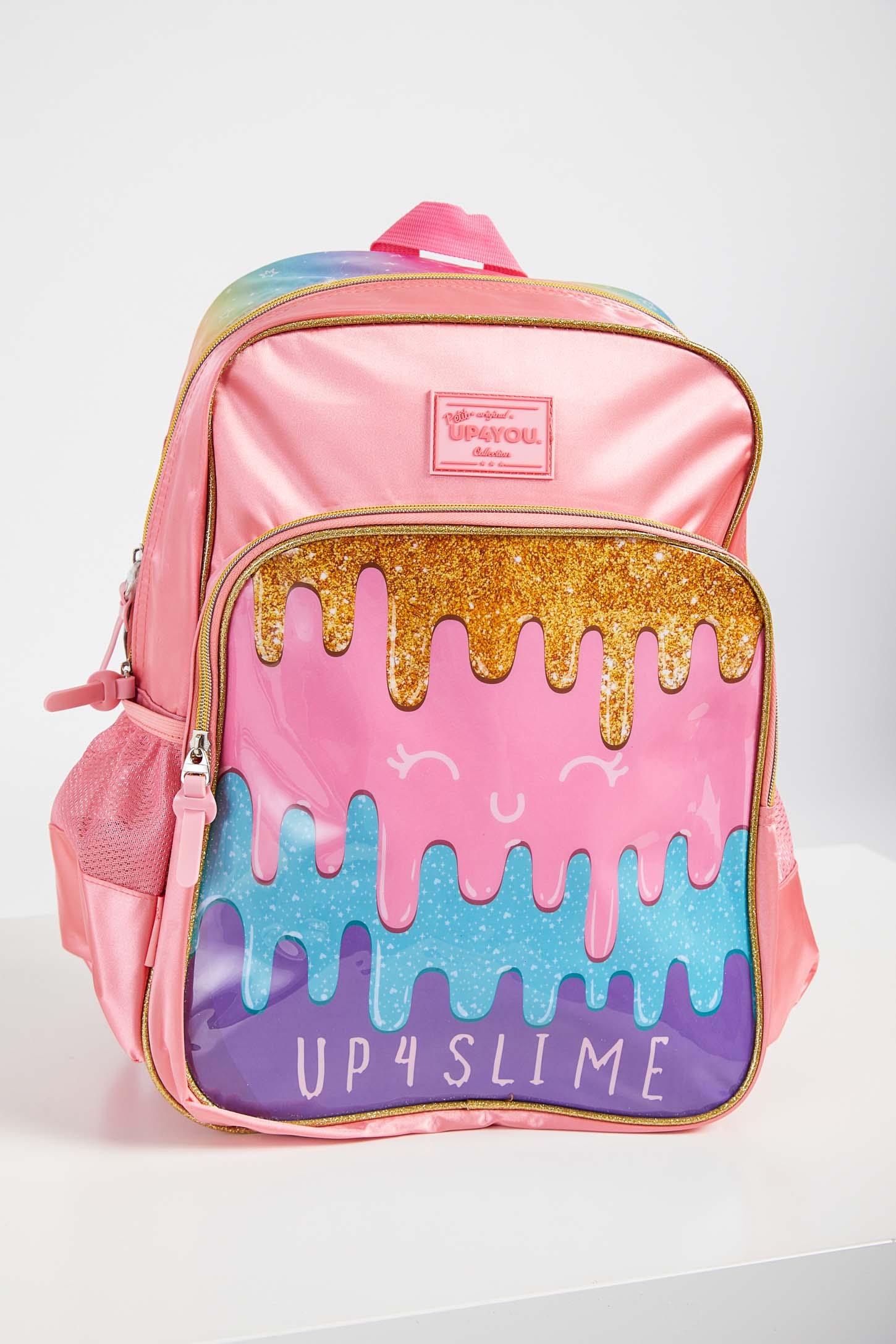 Mochila-Escolar-Menina-Slime-Luxcel-Pink