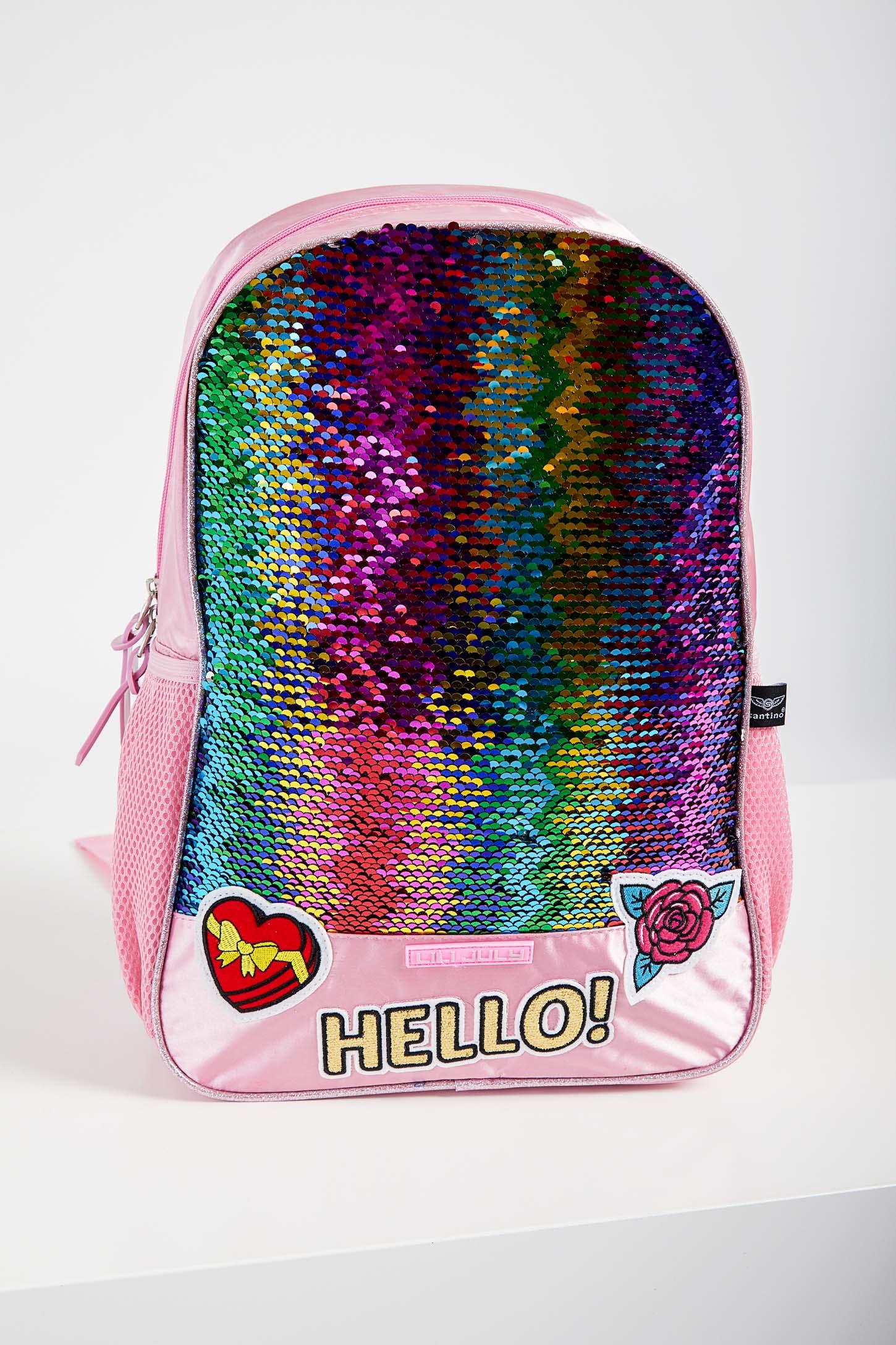 Mochila-Escolar-Juvenil-Menina-Santino-Lantejoulas-Pink