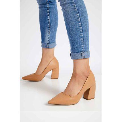 Sapato-Scarpin-Salto-Bloco-Feminino-Cha-De-Mel-Bege