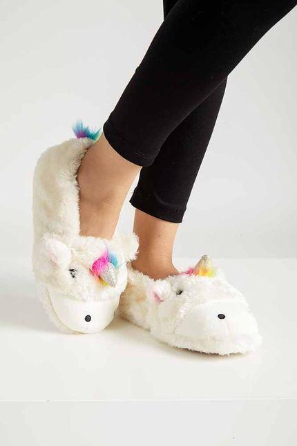 Pantufa-Conforto-Feminina-Liang-Unicornio-F8134-Branco