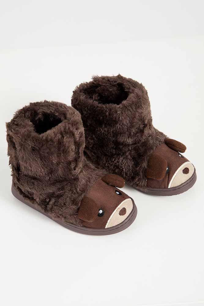 Pantufa-Casual-Infantil-Unissex-Liang-Bota-Urso-Marrom