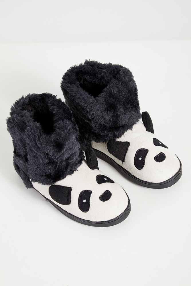 Pantufa-Infantil-Unissex-Liang-Panda-C8120-Preto