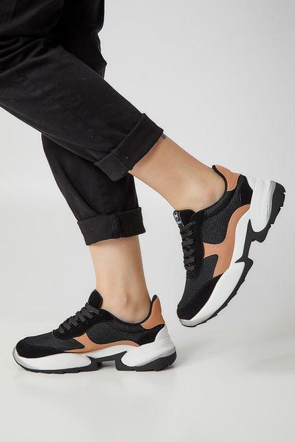 Tenis-Casual-Feminino-Dad-Sneaker-Via-Marte-20-4001-Preto