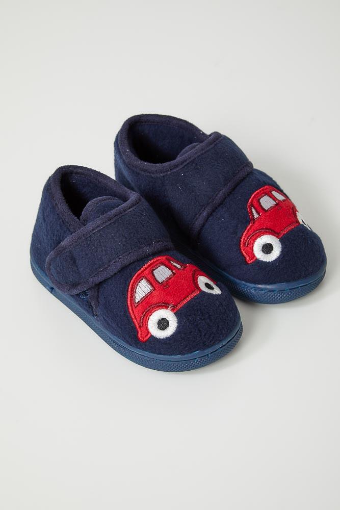 Pantufa-Conforto-Infantil-Menino-Liang-C7025-Carro-Marinho