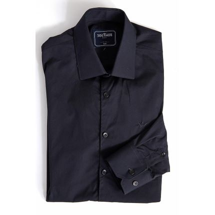 Camisa-Social-Slim-Masculina-Docthos-Easy-Preto