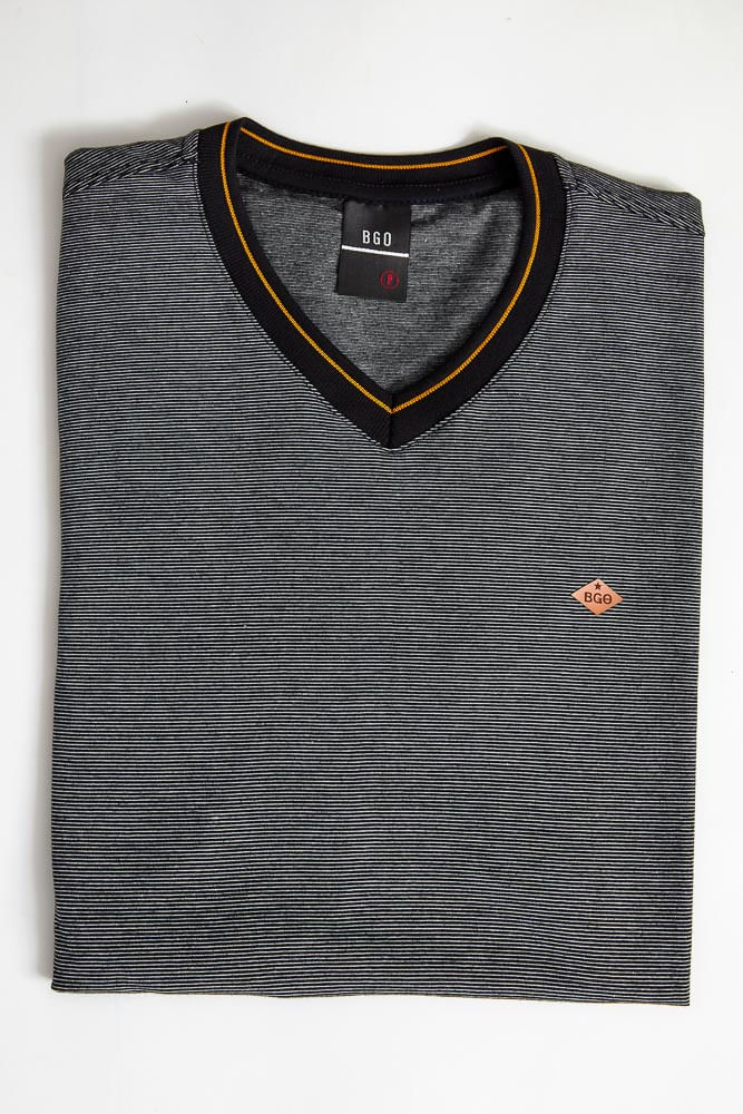 Camiseta-Casual-Masculina-Bgo-321189-Listrada-Preto