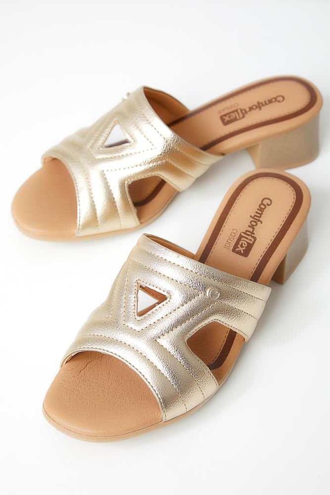 Tamanco-Conforto-Feminino-Comfortflex-Metalizado-Ouro