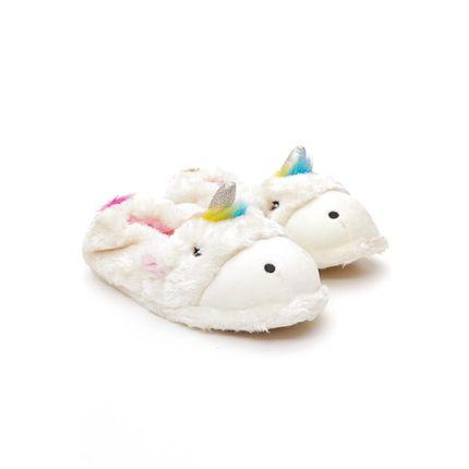 Pantufa-Feminina-Liang-Unicornio-F8134-Branco