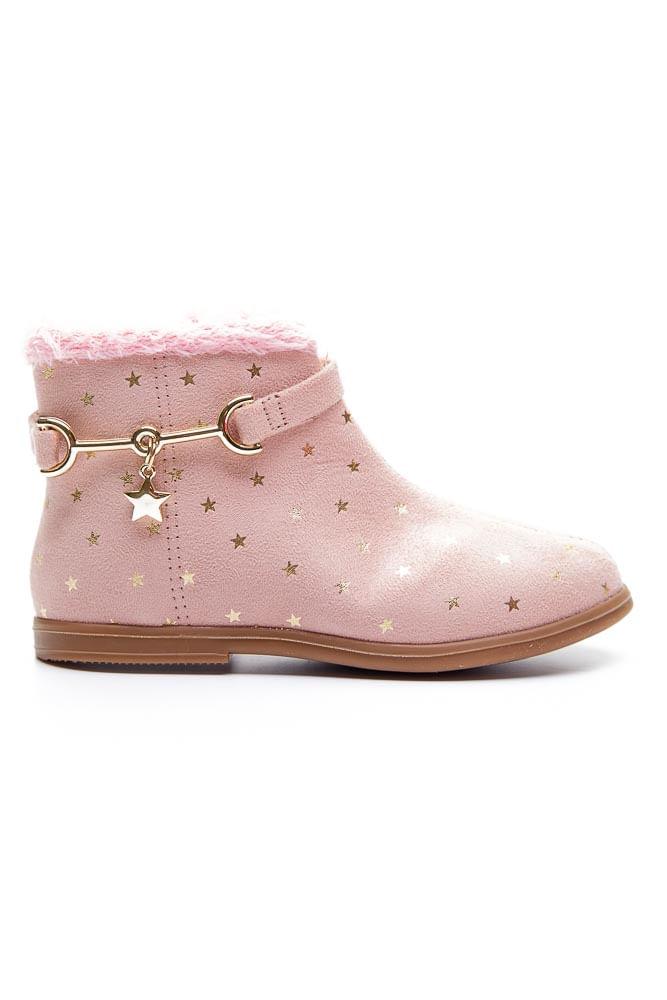 Bota-Casual-Infantil-Menina-Molekinha-Estrelas-Rosa
