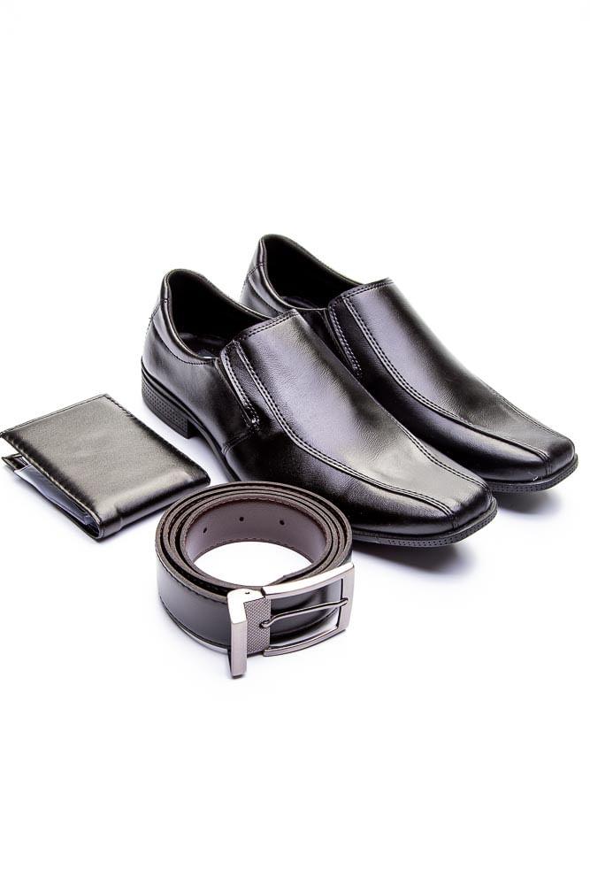 Sapato-Social-Masculino-West-Line-800-Kit-Cinto-Carteira-Preto