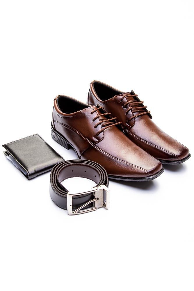 Sapato-Social-Masculino-West-Line-804-Kit-Cinto-Carteira-Marrom