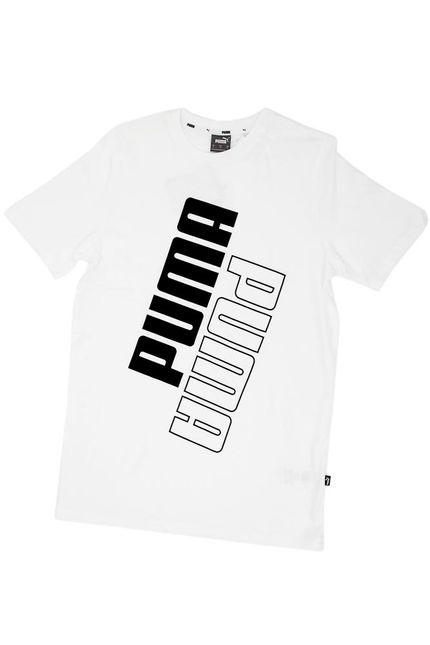 Camiseta-Casual-Masculina-Puma-Power-Logo-Branco