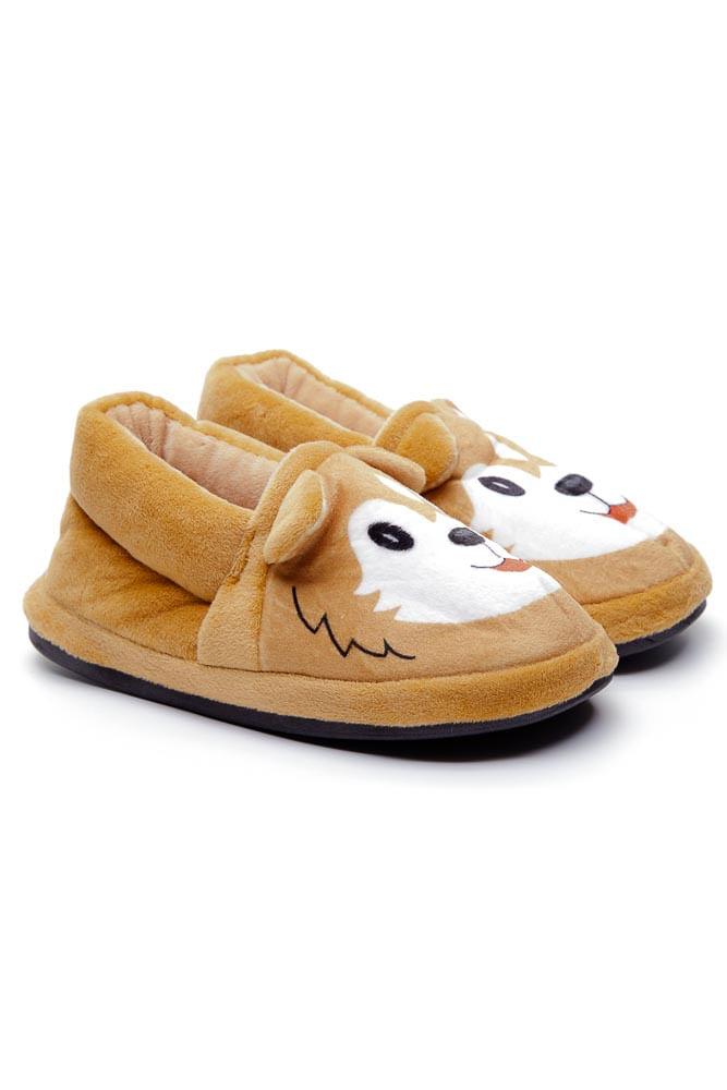 Pantufa-Infantil-Bixoferpa-Cachorro-Husky-Caramelo